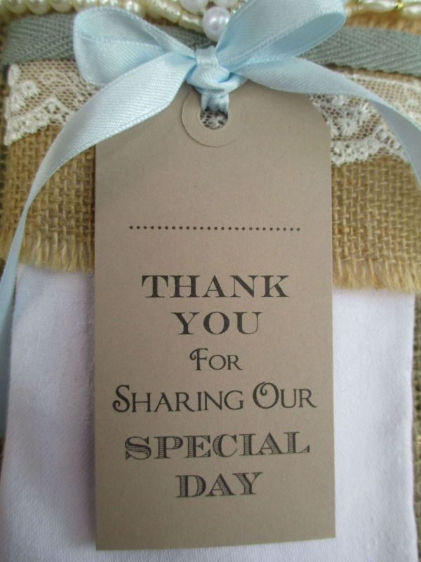 10 Thank You for Sharing Our Special Day Name Place Cards Napkin Ties